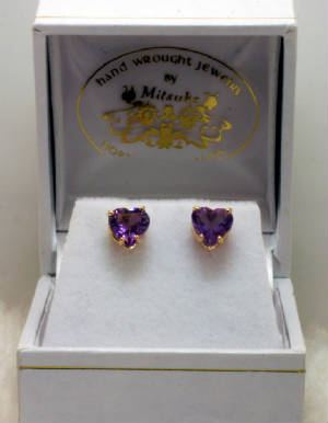Amethyst Heart Earrings set in 14K Gold Posts