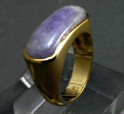 lavender jadeite 14 K gold saddle ring