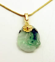 Hand Carved Jadeite 14K Pendant - Chain Optional