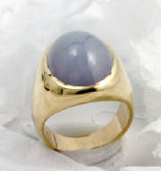 lavender jadeite 18 K Gold ring, gypsy mounting