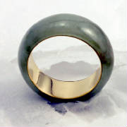 moss green jadeite jade eternal band, 18 K Gold