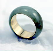 light moss green jadeite jade eternal band, 18 K Gold # 9732
