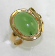 green Siberian nephrite jade gold ring # 9742