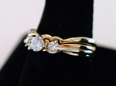 Engagement Ring and Wedding Ring Set, 14K, 3 Dia