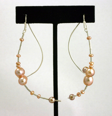 Earrings Swinging Curved Sterling Silver Wires, Freshwater Pearls
