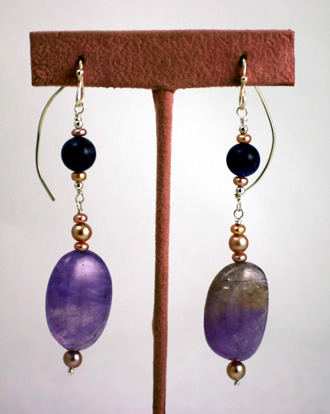 Sterling Silver wire earrings, amethyst and freshwater pearls