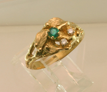 "Gold Ring, Emerald, Diamonds ""Leaves and Dewdrops"""
