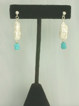 Dangling earrings,silver,Biwa Cult.Pearls Turquois