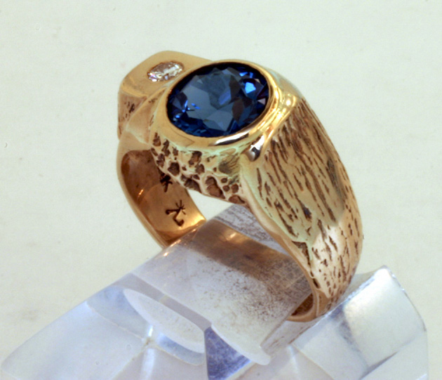 Ring 14K Sapphire Diamond Accent Gents