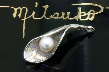 Sterling Silver Leaf Pin with Akoya Pearl