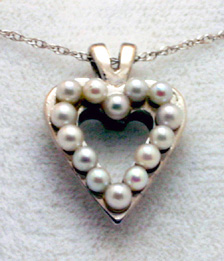 Pendant,White Gold Heart with small pearls # 3737s