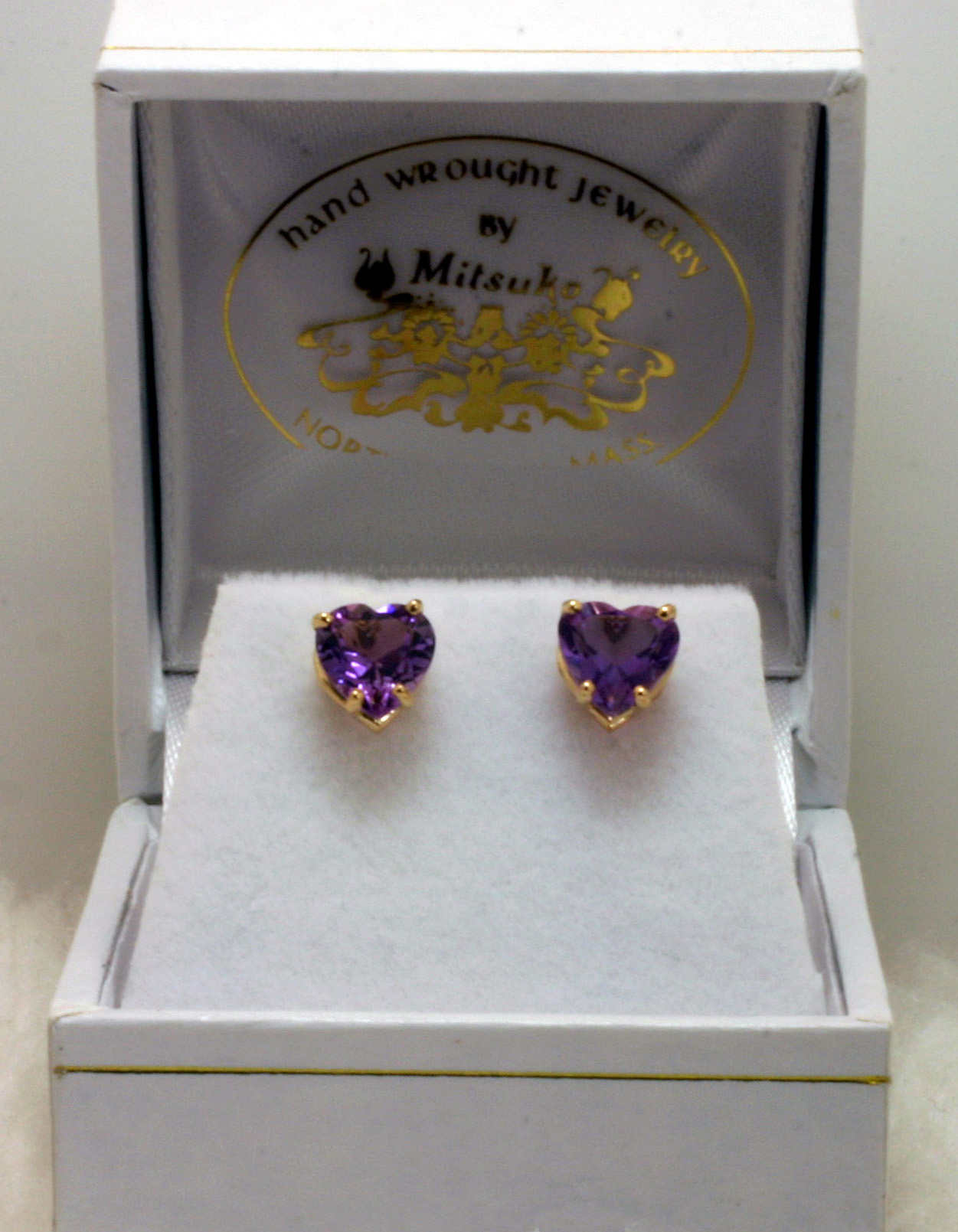 Amethyst Heart Earrings with Gold Posts
