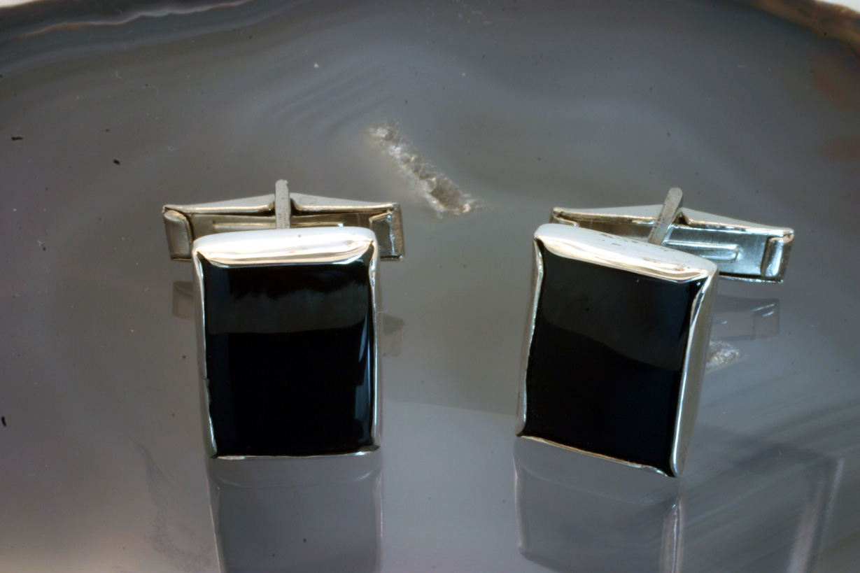 Cufflinks, Sterling Silver, Black Onyx Rectangles