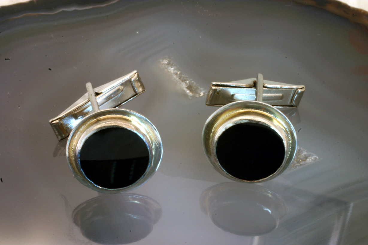 Sterling Silver Cufflinks with Oval Back Onyx