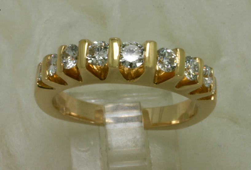 14 K Yellow Gold Band with Diamonds