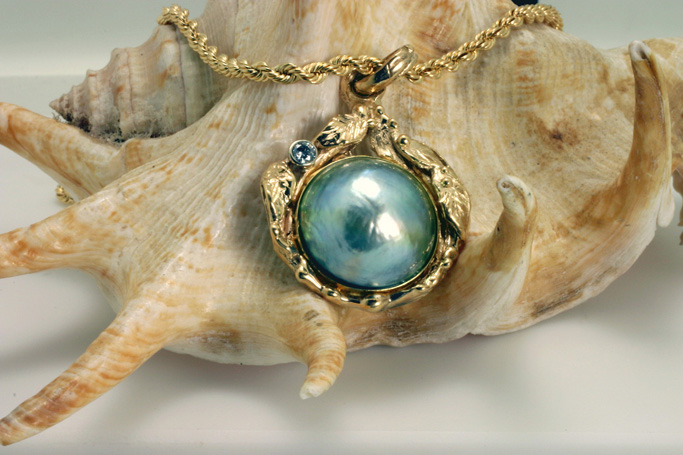 Mabe Pearl Pendant 14 K yellow gold $3,200