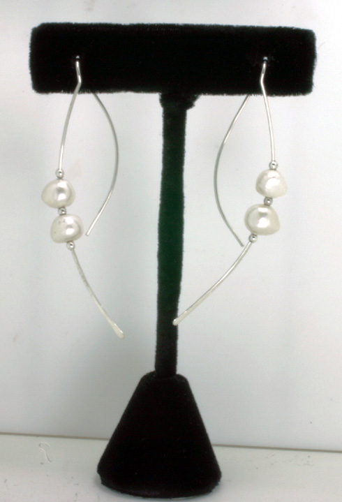 """Swinging Pearls"" Freshwater Pearls, Silver Wires"
