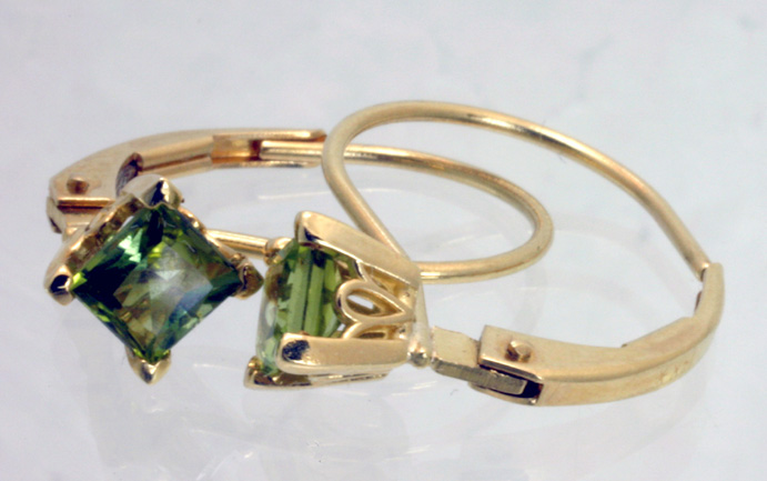 Peridot Earrings, Gold Continental Wires #4383