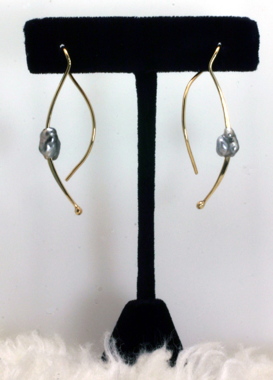 Dangling Earrings,Gold Wires,Keshi Cultured Pearls