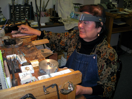 Mitsuko at her workbench