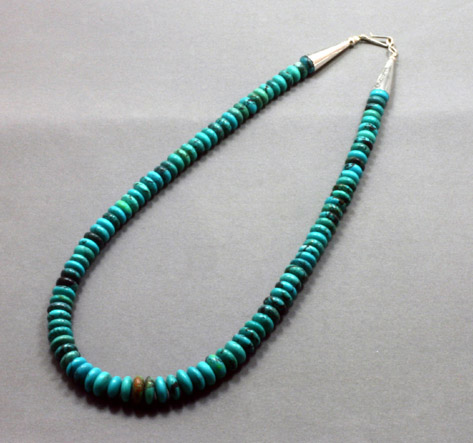 "Turquoise Heshi necklace, 18"" , SS clasp-$148"