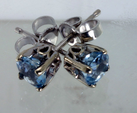 Aquamarine White Gold Post Earrings # 5108