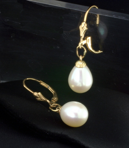 FreshwaterDrop Cut. Pearl Earrings,14K wires