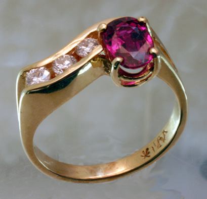 Ring 14K Ruby 3 Diamonds $3,200 # 5977