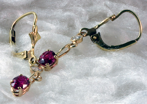 Earrings Rubies Diamonds Continental Wires # 5986