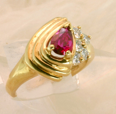 Gold Ruby Ring with Diamond Accents - # 6024