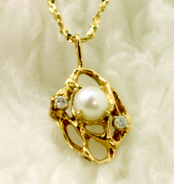 14K Pendant, 1 cultivated pearl, 2 diamonds-#6250
