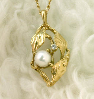"Pearl Pendant ""Leaves and Dewdrops"" #6251"