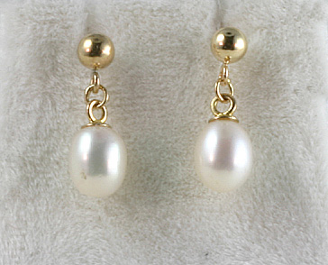 Earrings, Drop Freshwater Cult. Pearls 14K