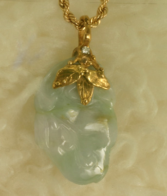 Pendant, green jade carving, gold leaves #6586