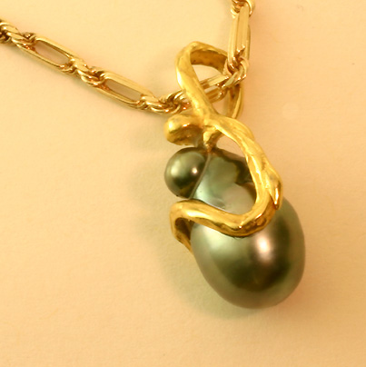 """Madonna"" South Sea Black Cultivated Pearl Pendant"