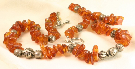 "Amber Necklace,24"",S Silver Togle Clasp #6790 $128"