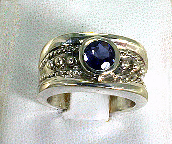 S Silver BAnd with TAnzanite, Byzantine # 7939