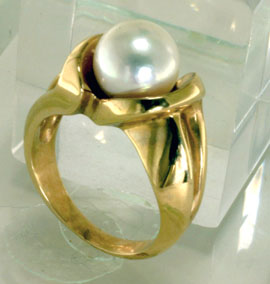 Ring 14k Gold Akoya Cultivated Pearl Solitaire