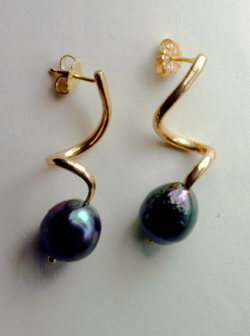 Back Pearl Twisted Earrings, 14K # 8079