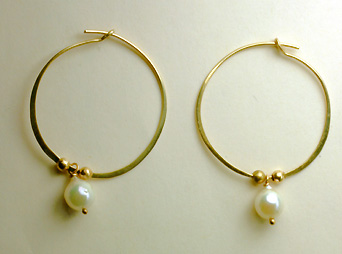 Hoop earrings, freshwater cult. pearls, 14K -$280