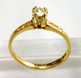 Engagement Ring, Traditional, 14K Yellow, Diamonds