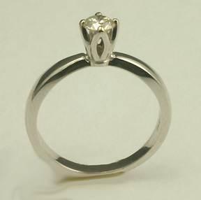 14 K white gold solitaire diamond engagement ring