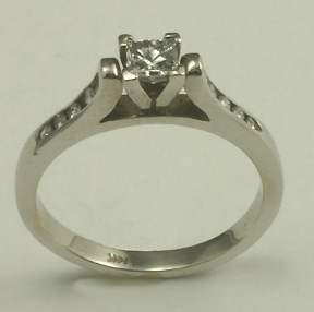 Engagement Ring, 14K white, Princess Diamond