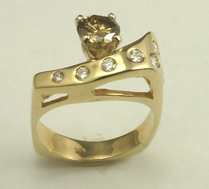 Cognac Diamond 14K Gold Ring # 8711