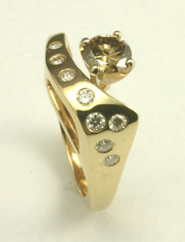 Cognac Diamond 14 K Gold Ring #8708