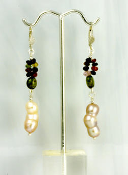 Earrings,Silver,Freshwater Cult. Pearls+Tourmaline
