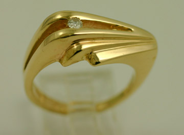 14K Band with diamond accent step style $980 #9127