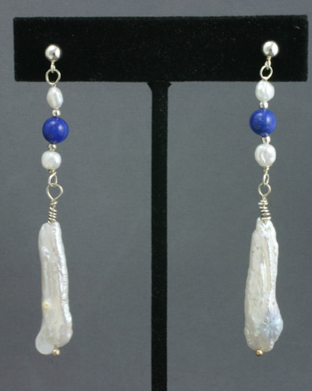 Silver Earrings, Biwa Cultured Pearls and Lapis Lazuli