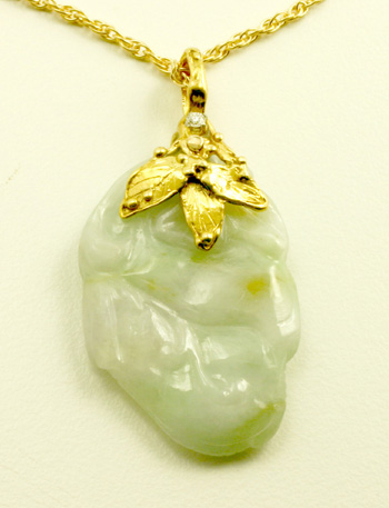Carved Jadeite Jade with 14 K Gold Bail, Pendant