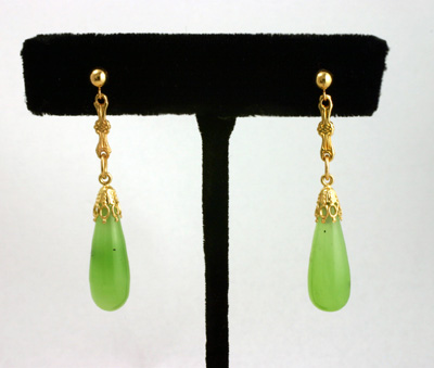 Green Siberian Nephrite Jade 14K Earrings